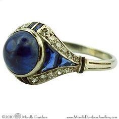 art deco sapphire dismond ring