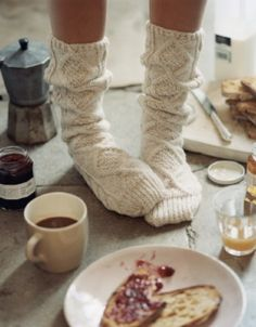 Slouchy cable knit socks