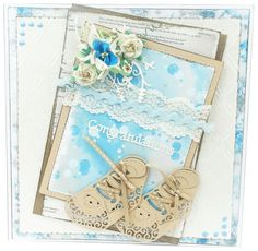 Gorgeous #Baby Boy card! Made using the Boy Bootie Die. Shop now: http://www.createandcraft.tv/papercraft/dies+and+storage/brand--tattered+lace/Tattered_Lace_Multibuy_Baby_Girl_and_Boy_Bootie_Dies-331545.aspx?p=1 #papercraft #cardmaking