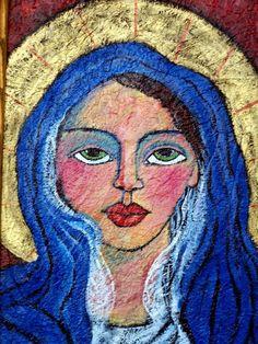 Original Painting Folk Art Saint on wood in by lindakellyart, $200.00