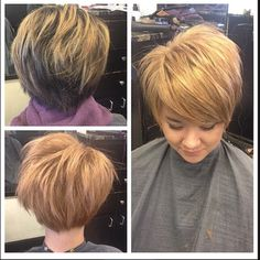 Rosey copper blonde, it's all the rage now. Feel free to bask in the glow of this fun before and after by @brandith Hair Color And Cut, Haircut And Color, New Hair Colors, Dark To Light Hair, Copper Blonde, Short Pixie, Pixie Cuts, Hair Boutique, Blonde Pixie