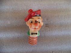 Vintage Liquor Bottle Cork Spout Pourer Stopper Man Head Ceramic