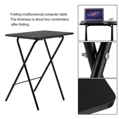 RealOne Wood Folding TV Tray Table Multi-Purpose Sturdy Durable Bedside Laptop Snack Folding Table Walnut Color
