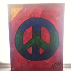 Easy peace sign painting on canvas