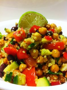 High Protein Vegan Fiesta salad 1 Large Can Chickpeas 1 Can Blackbeans 1 Red Pepper 1 Large Avocado 1 Lime 2 Tbsp Agave 1 Cucumber 2 Cups Spinach 1 Box Quinoa (or 4 Cups) 2 Tomatoes 1 Tsp Cayenne Pepper (optional depending on how hot you like your salad)