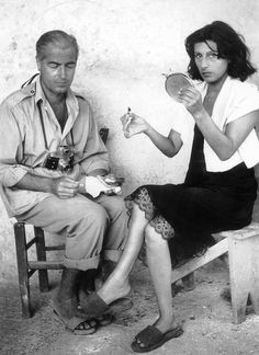 """"""" Director William Dieterle & Anna Magnani on the set of Volcano, 1950  """""""