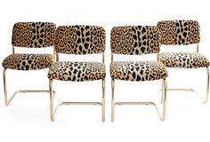 Vintage chairs for clients and guests in the office OMG! H & H HOME Cheetah Chairs w/ Brass Legs on One King's Lane.