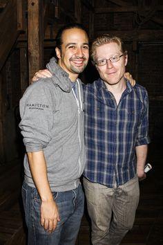 Anthony Rapp visits Lin-Manuel Miranda backstage at Hamilton on Broadway // This makes me so happy
