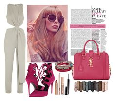 """""""pink"""" by invisible-608 ❤ liked on Polyvore featuring Halston Heritage, Platadepalo, Giuseppe Zanotti, Yves Saint Laurent, Urban Decay and MAC Cosmetics"""