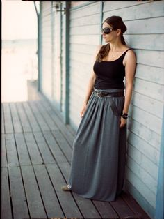 Gray stone maxi  skirt, everyday skirt. $45.00, via Etsy.