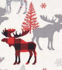 Snuggle Flannel Fabric-Snuggle Flannel Fabric-Buffalo Check Moose