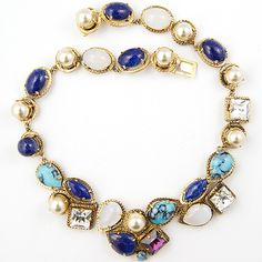 Christian Dior by Henkel and Grosse Turquoise Lapis Quartz Pearls Amethsyt and Diamonds Choker Necklace