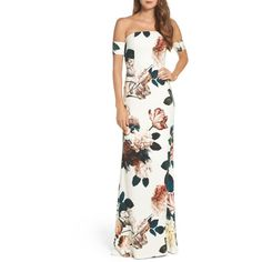 Women's Sachin & Babi Noir Sahni Floral Off The Shoulder Gown (£690) ❤ liked on Polyvore featuring dresses, gowns, ivory, cocktail dresses, off the shoulder evening dress, white floral dresses, white evening gowns and floral print evening gown