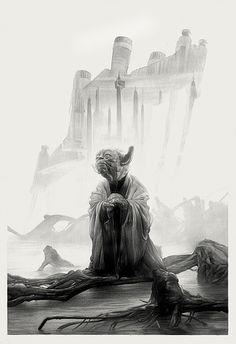 Star Wars: Yoda by Greg Ruth * Star Wars Film, Star Wars Poster, Star Wars Art, Star Trek, Double Exposition, Starwars, Images Star Wars, Princesa Leia, Harry Potter
