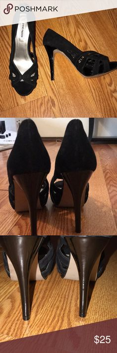 Steve Madden black heels Beautiful elegant suede heels everyone should have in the closet as they match with any combination. They are used only once, mostly indoors and you can see in pictures that they are in great condition. Unfortunately not my size Steve Madden Shoes Heels