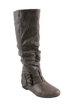 -BONNIBEL BIEN-2 Women's almond toe tall boots on flat bottom with raffled PU upper and  double bands on the ankle