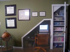 The space under a flight of stairs can be the perfect spot to set up a home office.