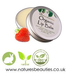 Natural Organic Lip Balm Made with Organic Strawberry Aroma - deliciously fruity A 100 natural organic lip balm that has been handmade using pure http://www.naturesbeauties.co.uk/100-natural-organic-strawberry-lip-balm-tin-10230-p.asp