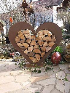 Herz aus Metall - Holz-Regal - Edel-Rost - Garten Terrasse - Deko - !!!RIESIG!!!