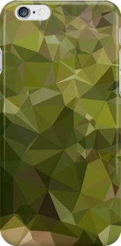Olive Green Abstract Low Polygon Background by retrovectors