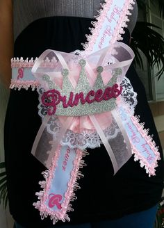 baby shower mom to be itu0027s a girl sash with princess crown pink ribbon corsage