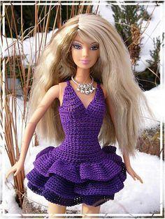 Fialové šaty   BARBIE a jiné panenky: