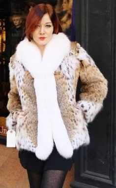 American Cat lynx Fur Jacket White Fox Tuxedo Fronts 9165 Image