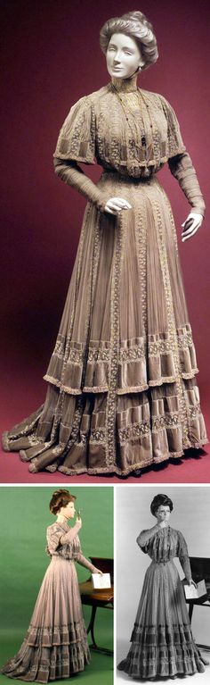 """~Circa 1903 silk one-piece Afternoon dress by Doucet, via Metropolitan Museum of Art: """"This afternoon dress was likely worn at the races or to other social events where exhibiting one's finery by promenading was deemed appropriate. The delicate dress of chiffon, lace, and velvet is an excellent example of Doucet's artistic hand. ...The pleated chiffon godets show the advanced technique needed to create this dress, making it a fine representation of the workmanship of the French couture.""""~"""