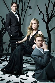 "True Blood stars Alexander Skarsgard, Anna Paquin and Stephen Moyer are featured in Emmy Magazine's annual For Your Consideration Issue and ETOnline has an exclusive sneak peek at their stunning photoshoot. In the issue, Paquin reveals that so much care went into casting the most compatible actors as Sookie and Bill, HBO inadvertently made a real-life love match! ""They did a chemistry read with the two of us before we were cast, and obviously, it went well,"" she says of Moyer. They wed in…"