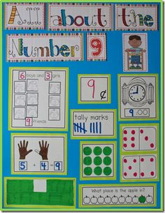 All About the number anchor charts Any way to make this image editable for morning meeting work? Preschool Math, Math Classroom, Fun Math, Maths, Classroom Decor, Math Math, Kindergarten Anchor Charts, In Kindergarten, Kindergarten Calendar Board