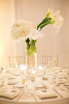 Centre de table | Hortensia, callas et orchidées blanches