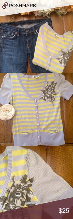 """{️Anthropologie} Moth short-sleeve cardigan Yellow & Gray striped button- down cardigan made by Moth. Front pockets, flower detail, and polka dot sleeves. Measurements lying flat (apprx) armpit to armpit 18"""", length 22"""". Anthropologie Sweaters Cardigans"""