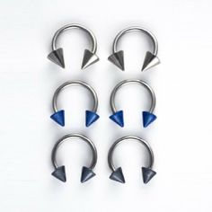 8 Pack-18G Surgical Steel Horseshoes: 6 Cones:2 Grey-2 Blue-2 Steel-2 Retainers-in Hinged Gift Box . $4.99. Surgical Steel. 1/4 inch. 18 Gauge. Hinged Gift Box. 4 Steel Horseshoes: 1 Pair Balls- 1 Pair Cones-1 Pair Captive Bead Plus 2 Clear Bioplast Retainers. Save 83%!