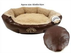 Large Faux Leather Pet Bed with Cushion