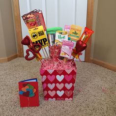 Valentine's Day gift basket for him. Home made card and all!