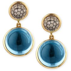 Syna Baubles Big Diamond & Blue Topaz Earrings (27 625 SEK) ❤ liked on Polyvore