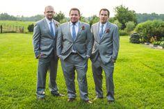Groom & groomsmen in grey suits & blue ties | A rustic, elegant handmade Virginia farm wedding at Fat Cat Farm | Images: Porter Watkins Photography