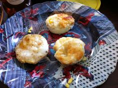 Cooked eggs in a cupcake tin