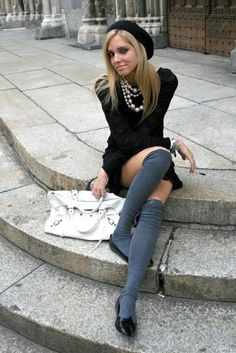 I like the high socks with the short dress and the flats...nice