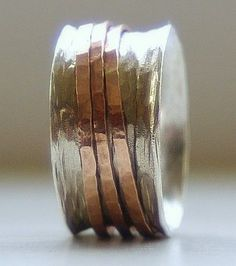 Custom Made Handmade Unique Wedding Ring: Rustic Sterling Silver And 14k Rose Gold Fill Wide Spinner Ring