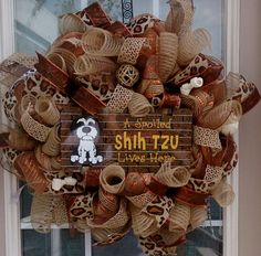Burlap Shih Tzu Wreath Dog Wreath Deco Mesh by LakeCountryTreasure