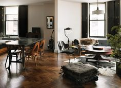 ACE Hotel New York by Roman & Williams. | Walnut, Chevron flooring by parquet by DIAN.