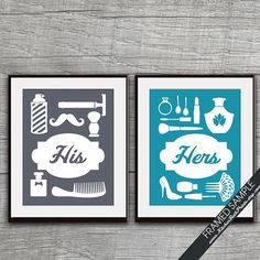 His and Hers Bathroom Prints series B  Set of by KITCHENBATHPRINTS, $29.90