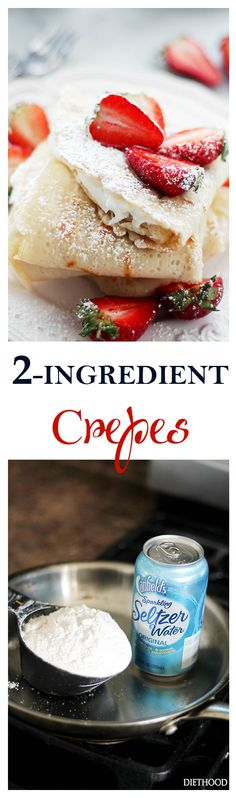 Crepes {Macedonian-Style Crepes} - Fluffy, light and delicate Crepes made with just 2 ingredients, including all-purpose flour and carbonated water. Dairy-Free, Egg-Free, but definitely N (Breakfast Crepes) Egg Free Recipes, Crepe Recipes, Brunch Recipes, Breakfast Recipes, Breakfast Ideas, Desserts Français, Delicious Desserts, Dessert Recipes, Yummy Food