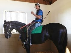 Zenyatta's son Cozmic One and rider. Photo courtesy of Mayberry Farm