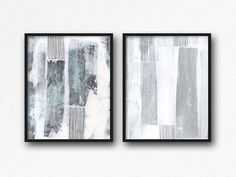 Abstract Art Print Set Abstract Painting Blue and White Wall