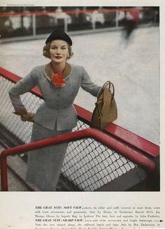 Suit by Bruno, Harper's Bazaar March 1951