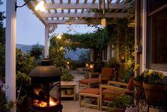 Outdoor Deck Decorating Ideas - Davotanko Home Interior Outdoor Rooms, Outdoor Furniture Sets, Outdoor Decor, Outdoor Seating, Furniture Ideas, Porch Furniture, Outdoor Pergola, Rustic Outdoor, Outdoor Fire
