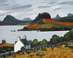 The Mountains of Assynt by British Contemporary Artist David BARNES Irish Landscape, Landscape Art, Landscape Paintings, Felt Pictures, Cool Pictures, Wales Mountains, Irish Painters, Irish Art, Impressionist Paintings