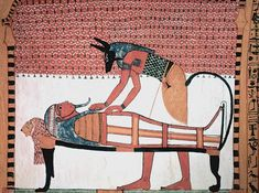 Anubis attending the mummy of Sennedjem - Valle de los Artesanos - Wikipedia, la enciclopedia libre